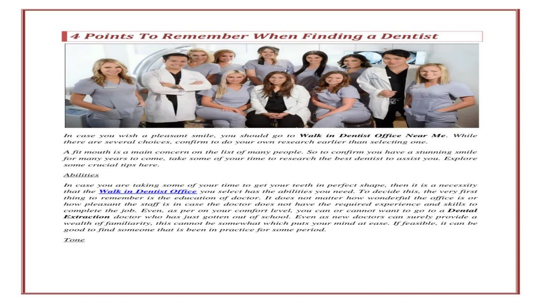 Four points to remember when finding a dentist